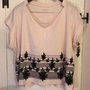 Tops - All Saints Blush Tee with Black Velvet Flowers